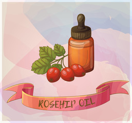 A bottle of rosehip oil